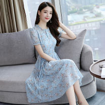 Dress Summer of 2019 blue S,M,L,XL,2XL Mid length dress singleton  Short sleeve commute stand collar middle-waisted Decor Socket Big swing routine Others Type A Other / other Korean version printing 51% (inclusive) - 70% (inclusive) Chiffon other