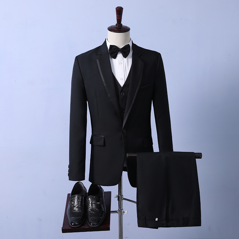 Suit Business gentleman Others [coat + Vest + pants] + shirt and leather shoes rent 20 [size note] S M L XL 2XL 3XL No slits Flat lapel Four seasons standard Multi grain single breasted wedding