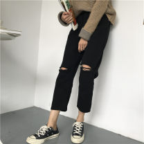 Women's large Summer 2020, spring 2020 Black, white Big XL, big XXL, big XXXL, big XXXXL, big L, big M, big S Jeans singleton  commute Straight cylinder moderate Solid color Korean version Denim Three dimensional cutting 1826# 18-24 years old hole 71% (inclusive) - 80% (inclusive) Ninth pants