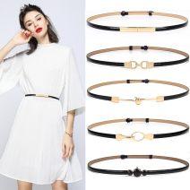 Belt / belt / chain Double skin leather female belt Versatile Single loop Youth, youth, middle age a hook Geometric pattern Patent leather 1cm alloy alone Heart talk dream