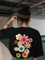 T-shirt Picture color S,M,L,XL Summer 2020 Short sleeve Crew neck Straight cylinder have cash less than that is registered in the accounts routine street cotton 96% and above youth Plants and flowers MAJE BRIAN 12489hjia369 Tie dye, tie flower hippie