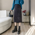 skirt Winter 2020 S,M,L,XL,2XL Black (elastic waist), gray (elastic waist), coffee (elastic waist) Mid length dress commute High waist skirt Solid color Type A 18-24 years old wl219 18 71% (inclusive) - 80% (inclusive) corduroy Korean version