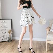 skirt Ruili Summer 2021 Short skirt Sweet High waist A-line skirt Dot 51% (inclusive) - 70% (inclusive) Type A 18-24 years old wl120-24# Chiffon Asymmetric, bandage S,M,L,XL,2XL Black, white