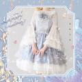 Lolita / soft girl / dress Xiaolu peach blossom sauce Grey jsk + bow (, blue jsk + bow, white in sleeve, grey hair band, blue hair band S. M, l, XL, accessories