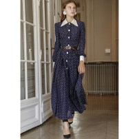 Dress Spring 2021 Picture color (long in stock), picture color (short can be customized) S,M,L,XL,2XL Mid length dress singleton  Long sleeves commute other middle-waisted Dot Single breasted Big swing routine Type A Broadcast. Point Britain Lace up, panel, button Chiffon polyester fiber