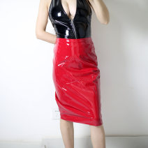 skirt Spring 2015 S,M,L Black, red, patent leather bra, black patent leather one-piece suit Middle-skirt grace Pencil skirt Solid color Type A 25-29 years old S00293 other PU zipper