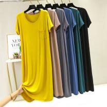 Nightdress Other / other Yellow, black, collection and shopping cart [priority delivery], denim blue, khaki, iron gray, dark green Average size (80-120 Jin recommended), plus size (120-160 Jin recommended) Simplicity Short sleeve Leisure home longuette summer Solid color Crew neck cotton Modal fabric