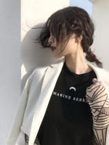 T-shirt black S, M Summer 2020 Short sleeve Crew neck Self cultivation Regular routine commute cotton 71% (inclusive) - 85% (inclusive) 18-24 years old youth letter