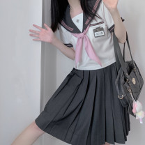 student uniforms Summer 2021 Single coat pink + silk scarf, single coat green + silk scarf, pink coat + Silk Scarf + skirt, green coat + Silk Scarf + skirt S,M,L,XL Short sleeve solar system skirt 18-25 years old Other / other