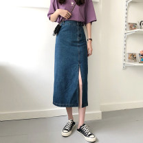 Women's large Summer 2021 Light blue, blue S,M,L,XL,2XL,3XL,4XL skirt singleton  commute moderate Socket Solid color Korean version Three dimensional cutting 18-24 years old 71% (inclusive) - 80% (inclusive) longuette