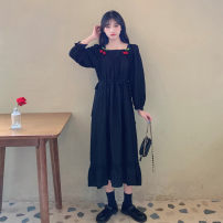 Women's large Autumn 2020 black L [100-120 Jin recommended], XL [120-140 Jin recommended], 2XL [140-160 Jin recommended], 3XL [160-180 Jin recommended], 4XL [180-200 Jin recommended] Dress singleton  Socket Medium length 18-24 years old Medium length