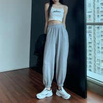 Women's large Summer 2020 Light grey S [recommended 80-100 Jin], m [recommended 100-110 Jin], l [recommended 110-120 Jin], XL [recommended 120-140 Jin], 2XL [recommended 140-160 Jin], 3XL [recommended 160-180 Jin], 4XL [recommended 180-200 Jin] trousers singleton  commute moderate Korean version