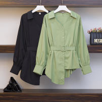 Women's large Spring 2020 Green, black Dress singleton  commute easy moderate Socket Long sleeves Solid color Korean version Polo collar routine other Three dimensional cutting bishop sleeve Three dimensional decoration Middle-skirt