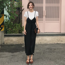 Casual pants Black spot nude spot XS S M Summer of 2018 Ninth pants Straight pants High waist 25-29 years old 31% (inclusive) - 50% (inclusive)