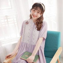 Dress Summer of 2019 Without Brooch (in stock) M, L Mid length dress singleton  Short sleeve Sweet Loose waist lattice Socket A-line skirt routine Other / other Lace More than 95% cotton Mori