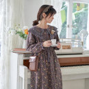 Dress Autumn 2020 Average size Mid length dress singleton  Long sleeves Sweet Crew neck Loose waist Broken flowers Socket A-line skirt routine Type A printing cotton Mori