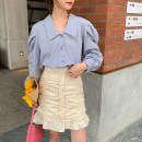 skirt Spring 2021 S,M,L Apricot Short skirt commute High waist skirt Solid color Type A 31% (inclusive) - 50% (inclusive) other Ruffles, folds