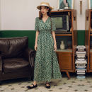 Dress Autumn of 2019 Picture color S,M,L,XL longuette singleton  Short sleeve commute V-neck High waist Decor Socket Big swing routine Others 25-29 years old Type A Other / other Retro 81% (inclusive) - 90% (inclusive) Chiffon polyester fiber