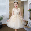 Dress Champagne for crown, pink for crown, champagne for hairpin, pink for hairpin female Other / other 110cm,120cm,130cm,140cm,150cm,160cm Polyester 100% summer princess Skirt / vest Solid color Cotton and hemp A-line skirt Class B Chinese Mainland Guangdong Province Dongguan City