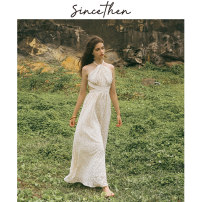 Dress Summer of 2019 Delivery within 7 days, picture color (in stock) S,M,L longuette singleton  Sleeveless commute High waist Hanging neck style 18-24 years old Type A since then Retro Embroidery CQ180932 polyester fiber