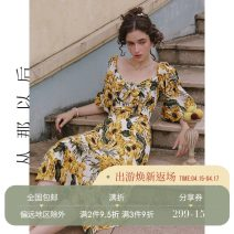 Dress Spring 2021 Picture color (in stock) S,M,L longuette singleton  Long sleeves commute V-neck High waist Decor zipper A-line skirt bishop sleeve 18-24 years old Type A since then Retro