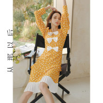 Dress Spring 2021 Figure color (spot), figure color (pre-sale 4.20-4.27 delivery) S,M,L longuette singleton  Long sleeves commute High waist Decor zipper A-line skirt routine Others 18-24 years old Type A since then Retro CQ201141 polyester fiber