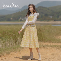 Dress Spring 2021 Picture color (in stock) S,M,L longuette Two piece set Long sleeves commute High waist Solid color routine camisole 18-24 years old Type A since then Retro CQ2008103 30% and below wool