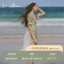 Dress Spring 2020 Picture color (in stock), picture color (7 days for delivery) S,M,L Short skirt singleton  Short sleeve commute High waist A-line skirt 18-24 years old Type A since then Retro More than 95% polyester fiber