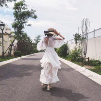 Dress Summer of 2019 goods in stock S,M,L longuette singleton  three quarter sleeve commute V-neck High waist Single breasted Irregular skirt puff sleeve 18-24 years old Type A since then Retro CQ0345 polyester fiber