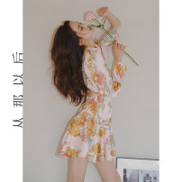 Dress Spring 2021 Figure color (spot), figure color (pre-sale 4.15-4.22 delivery) S,M,L longuette singleton  Long sleeves commute High waist Decor zipper A-line skirt routine Others 18-24 years old Type A since then Retro DQ201077 More than 95% polyester fiber