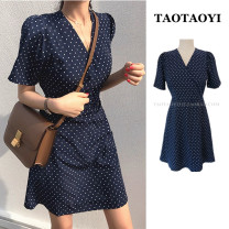 Dress Summer 2021 Navy Blue S,M,L,XL Short skirt singleton  Short sleeve commute V-neck High waist Dot zipper A-line skirt routine Others 18-24 years old Type A Korean version Bowknot, lace up, stitching, bandage, button, zipper, printing 71% (inclusive) - 80% (inclusive) other polyester fiber