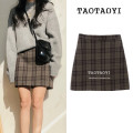 skirt Winter 2020 S,M,L,XL Picture color Short skirt commute High waist A-line skirt lattice Type A 18-24 years old 31% (inclusive) - 50% (inclusive) Wool Other / other Flocking, zipper Korean version