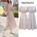 Dress Summer of 2019 S,M,L,XL longuette singleton  Short sleeve commute Crew neck High waist Broken flowers Single breasted Big swing bishop sleeve Others 18-24 years old Type A Other / other Korean version Pleats, stitching, buttons, prints 71% (inclusive) - 80% (inclusive) Chiffon