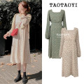 Dress Autumn 2020 Off white, green S,M,L,XL Mid length dress singleton  Long sleeves Sweet square neck High waist Broken flowers zipper A-line skirt puff sleeve Others 18-24 years old Type A Other / other Bowknot, Gouhua, hollow out, lace up, stitching, bandage, zipper, printing polyester fiber Mori