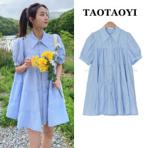 Dress Summer 2021 sky blue S,M,L,XL Middle-skirt singleton  Short sleeve commute Polo collar Loose waist Solid color Single breasted Big swing puff sleeve Others 18-24 years old Type A literature Pleats, stitches, buttons 51% (inclusive) - 70% (inclusive) cotton