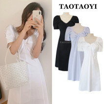 Dress Summer 2020 White, blue, black S,M,L Mid length dress singleton  Short sleeve commute square neck High waist Solid color zipper A-line skirt puff sleeve Others 18-24 years old Type A Korean version Tuck, fold, splice, tie, zipper 71% (inclusive) - 80% (inclusive) hemp