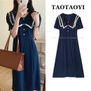 Dress Summer 2021 Navy Blue S,M,L Mid length dress singleton  Short sleeve commute V-neck High waist Solid color Big swing puff sleeve Others 18-24 years old Type A Korean version Pleats, stitching, buttons, lace 71% (inclusive) - 80% (inclusive) cotton