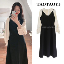 Dress Autumn 2020 Apricot shirt, black suspender skirt S,M,L,XL Mid length dress Two piece set Long sleeves commute V-neck High waist Solid color zipper A-line skirt Lotus leaf sleeve camisole 18-24 years old Type A Retro Bow, ruffle, fungus, zipper