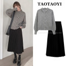 Fashion suit Winter 2020 S,M,L,XL Khaki sweater, grey sweater, black skirt, apricot skirt 18-25 years old 51% (inclusive) - 70% (inclusive)
