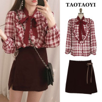 Fashion suit Autumn 2020 S,M,L,XL Shirt, skirt 18-25 years old 71% (inclusive) - 80% (inclusive) cotton