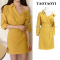 Dress Summer 2021 yellow S,M,L,XL Short skirt singleton  three quarter sleeve commute V-neck High waist Solid color other A-line skirt shirt sleeve Others 18-24 years old Type A Korean version Bowknot, open back, lace up, stitching, asymmetry, bandage 71% (inclusive) - 80% (inclusive)