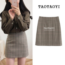 skirt Autumn 2020 S,M,L,XL Apricot Short skirt commute High waist A-line skirt lattice Type A 18-24 years old 51% (inclusive) - 70% (inclusive) Other / other cotton Thread, zipper Korean version