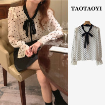 Lace / Chiffon Spring 2021 White, black Average size Long sleeves commute Cardigan singleton  easy Regular other Dot pagoda sleeve 18-24 years old Other / other Bowknot, flounce, hollow out, embroidery, Gouhua, hollow out, lace up, stitching, bandage, button Korean version polyester fiber