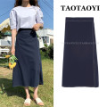skirt Summer 2021 S,M,L,XL Navy Blue Mid length dress Versatile High waist A-line skirt Solid color Type A 18-24 years old 51% (inclusive) - 70% (inclusive) cotton Zipper, stitching