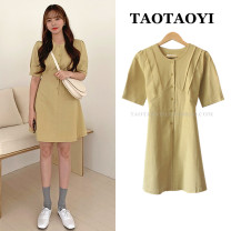 Dress Summer 2021 yellow S,M,L,XL Short skirt singleton  Short sleeve commute Crew neck High waist Solid color Single breasted A-line skirt routine Others 18-24 years old Type A Korean version Bowknot, fold, lace up, stitching, button 51% (inclusive) - 70% (inclusive) cotton