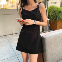 Dress Summer 2021 Sky blue, black S,M,L,XL Short skirt singleton  Sleeveless commute V-neck middle-waisted Solid color zipper A-line skirt other camisole 18-24 years old Type A Korean version Lace up, stitching, strap, strap, zipper 71% (inclusive) - 80% (inclusive) cotton
