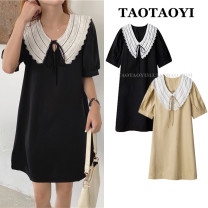 Dress Summer 2021 Black, khaki Average size Middle-skirt singleton  Short sleeve commute Doll Collar Loose waist Solid color Socket A-line skirt puff sleeve Others 18-24 years old Type H Other / other Korean version 51% (inclusive) - 70% (inclusive) nylon