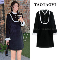 Dress Autumn 2020 black S,M,L,XL Short skirt singleton  Long sleeves commute stand collar High waist Solid color zipper One pace skirt Lotus leaf sleeve 25-29 years old Type H Korean version Flounce, Auricularia auricula, stitching, thread, flower, button 51% (inclusive) - 70% (inclusive)