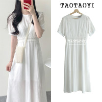 Dress Summer 2021 white S,M,L,XL Mid length dress singleton  Short sleeve Sweet Crew neck High waist Solid color zipper A-line skirt shirt sleeve Others 18-24 years old Type A Other / other Gouhua, hollow out, splicing, thread, zipper cotton college