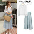 Fashion suit Autumn 2020 S,M,L,XL White shirt, blue skirt 18-25 years old 31% (inclusive) - 50% (inclusive) cotton